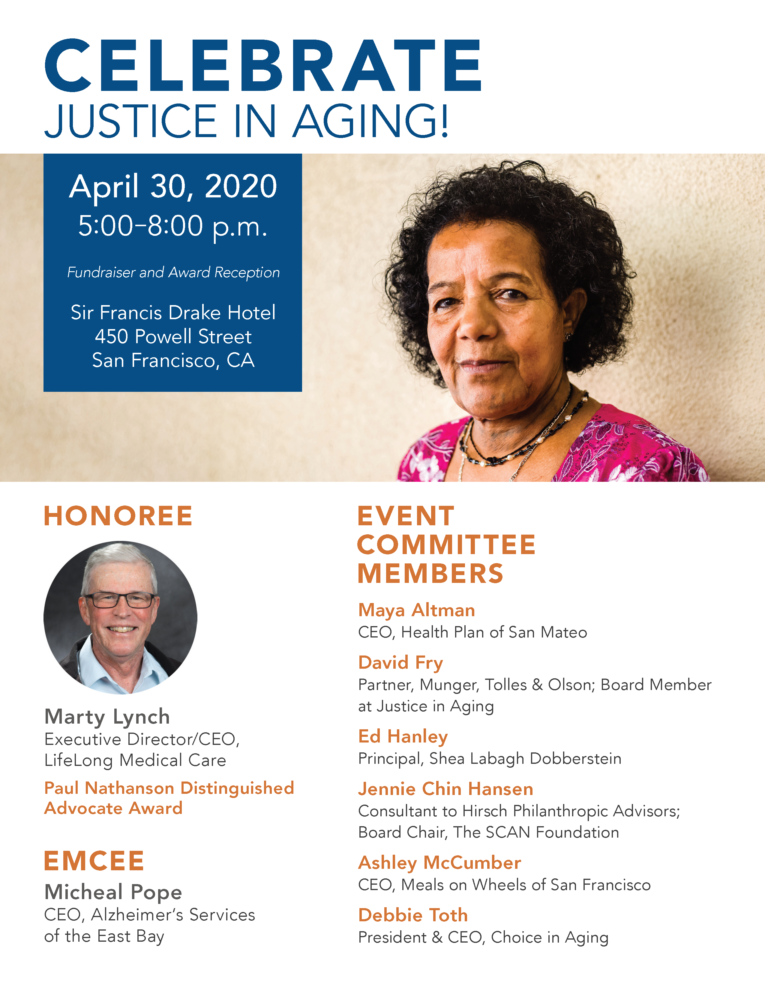 Celebrate Justice in Aging on April 30, 2020 at the Sir Francis Drake Hotel